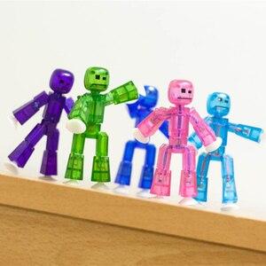 Image 4 - 20 sztuk/partia kolory losowo wysyłania śliczne przyklejony Robot Sucker przyssawka śmieszne ruchome zabawkowe figurki akcji