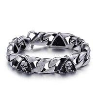 15mm Classic Men Pharaoh Skull Titanium Steel Hand Chain Bracelet Male Hip Hop Punnk Silver Color Never Faded Wrist Braclet