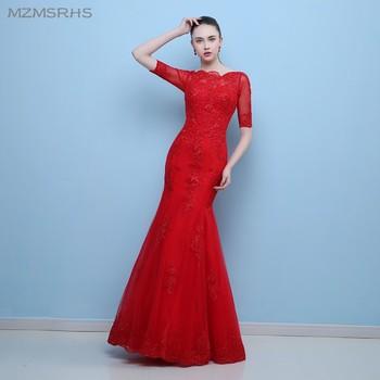 Vestido de Formatura Red Mermaid Prom Dresses Gorgeous Applique Half Sleeve Lace Prom Dress Robe de Soiree 2017
