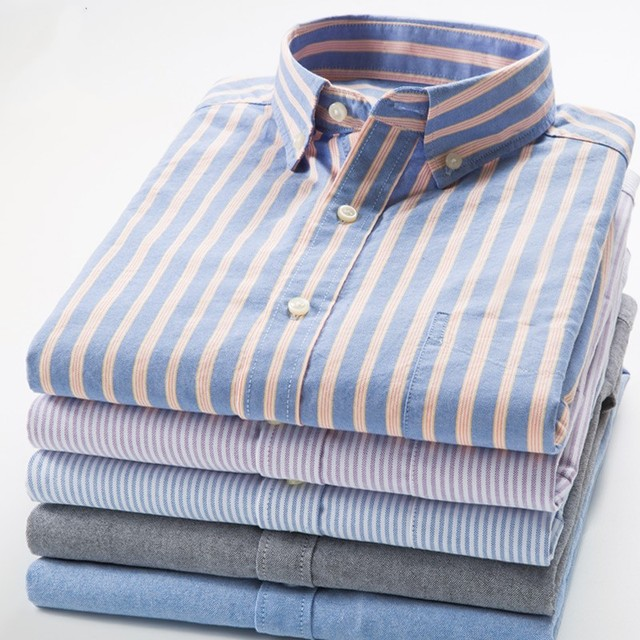 S-4XL Spring Autumn New Men's Cotton Oxford Long Sleeve Shirt Young Business Casual Cotton Slim Stripes Shirt