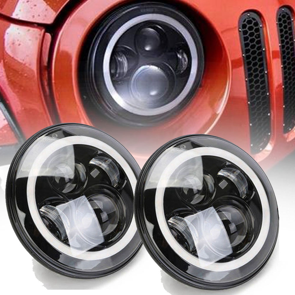 Marlaa for Nissan Patrol Y60 Hummer H1 H2 Pair 7inch LED Headlight For Jeep Wrangler TJ