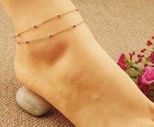 Barefoot Beach Double Chain Link Tassel Foot Bracelet Anklet Jewelry Toe Anklet  Women  Ankle Braceletsfree delivery