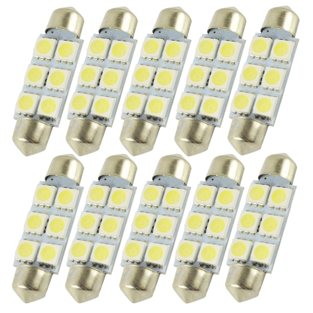10pcs 36mm 39mm <font><b>42mm</b></font> 6 SMD 5050 <font><b>LED</b></font> C5W Car Dome Light Auto Festoon Lights Lamp license plate Pathway lighting Bulbs 12V White