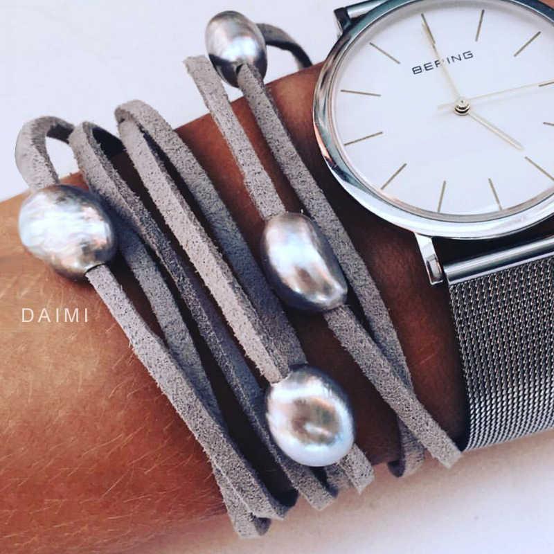 Dmcbfp106 9-10mm barroco pérola pulseira de couro, pérola pulseira, estilo casual praia jóias, diy pode ser longo