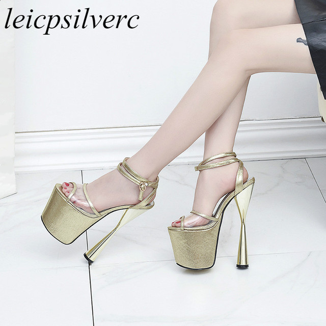 64c80298438 Women Sandals Shoe Super High Heel Peep Toe Pu Ankle Buckle Platform 2018  Summer New Sex Fashion Party Wedding Black Gold Silver