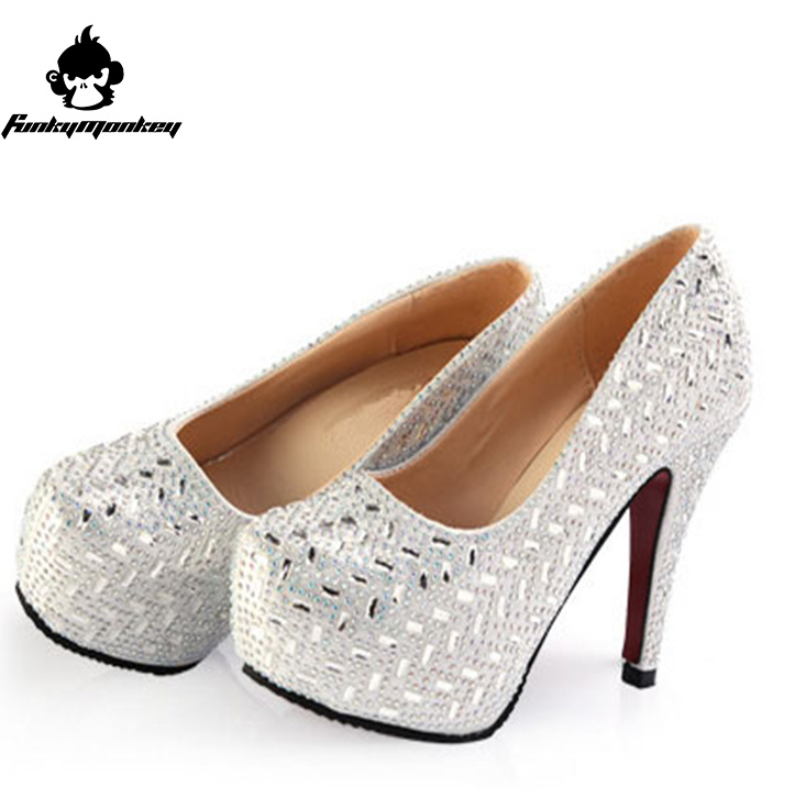 Aliexpress Buy 2016 Women High Heels Prom Wedding Shoes Lady Crystal Platforms Silver