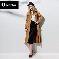 QUEENTOR New 2017 Brand Autumn Winter Single Breasted Pockets Slim Elegant Casual Long Camel Woolen Coat