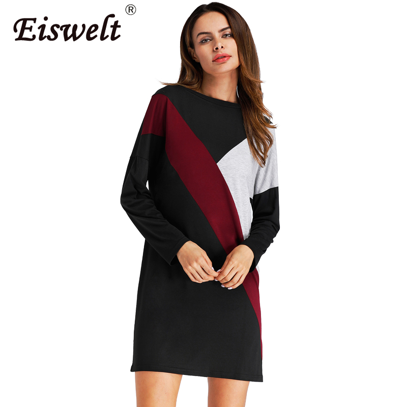 EISWELT 2017 Autumn Winter Fashion Vintage Women Dress New Ladies Sexy Dress Knitted Dresses Round Neck