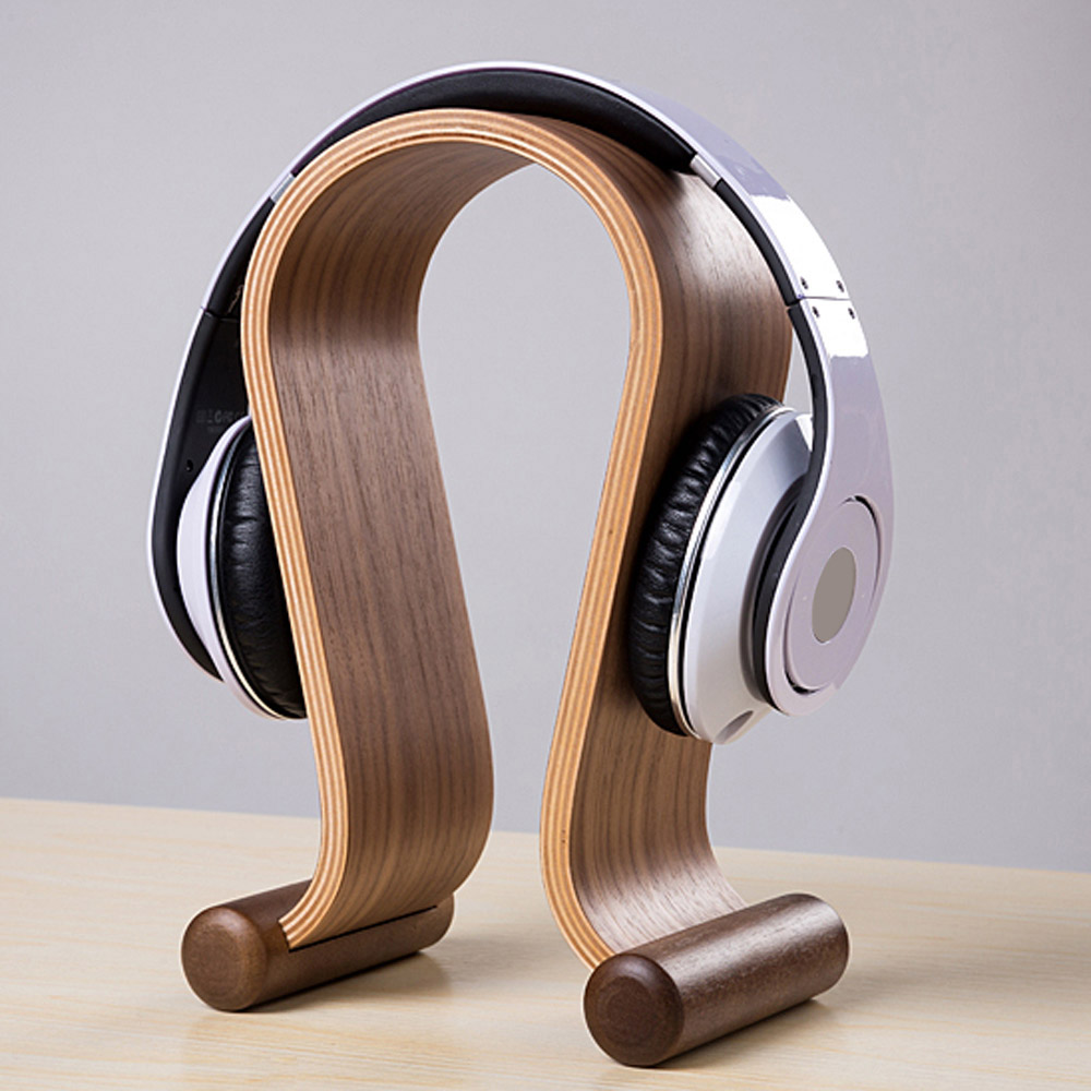 super discount Wooden Walnut Wood Headphone Gaming Headset Display Stand Holder Hanger for headset headphone earphone tablet wood