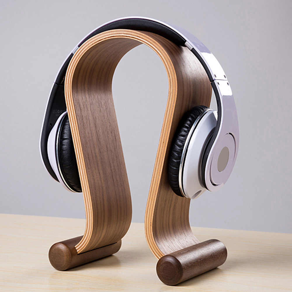 super discount Wooden Walnut Wood Headphone Gaming Headset Display Stand Holder Hanger for headset headphone earphone tablet