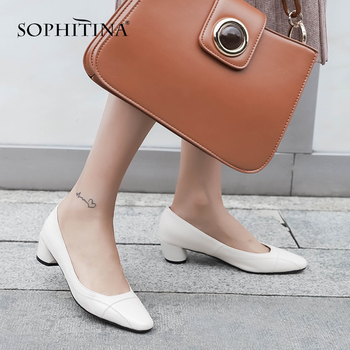 SOPHITINA New Fashion Pumps Round Heel Basic Women' s Casual Office Spring Shoes Handmade  Concise Square Toe Shallow Pumps MO67