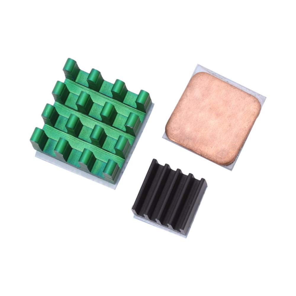 3Pcs Copper Heat Sink Cooling Adhesive Sticky Backing For Raspberry Pi 3 Model 3