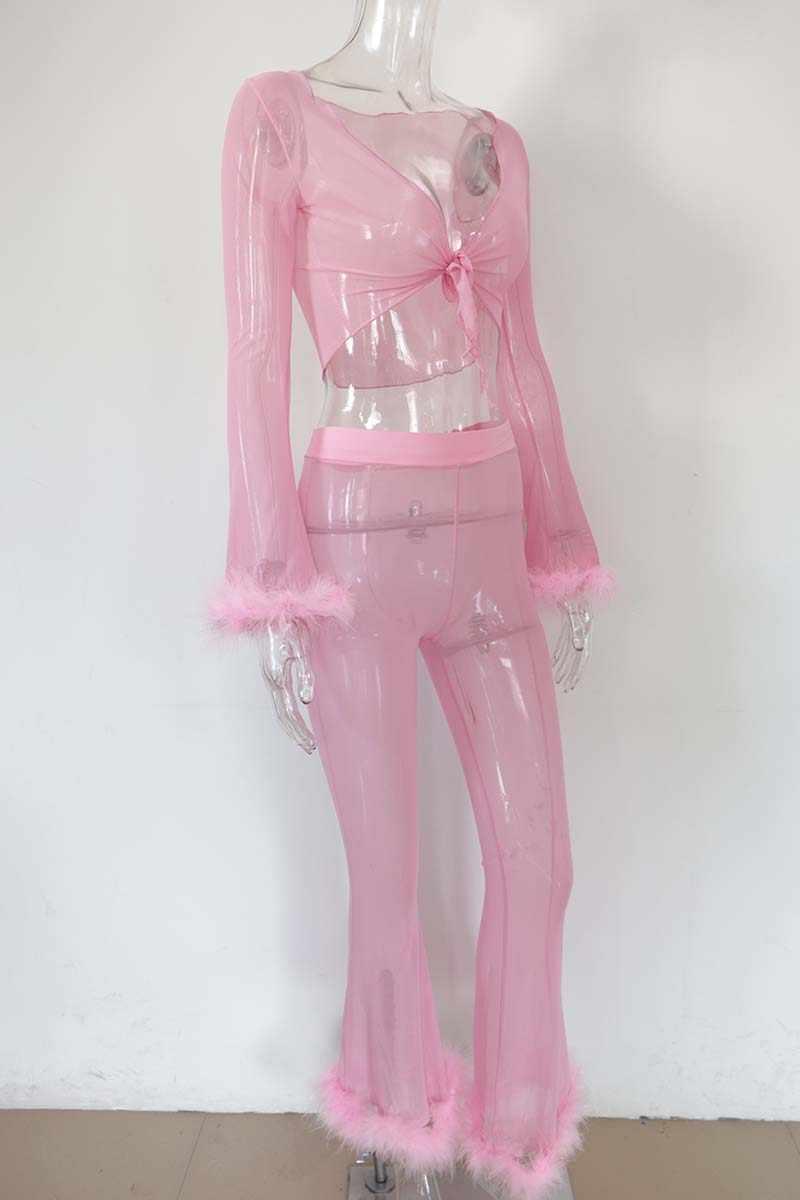 Beypren chándal de malla Rosa mujeres lindo Faxu trajes de piel dos piezas Sexy Tie Up malla Crop Top y Flare Pantalones conjunto de trajes de fiesta
