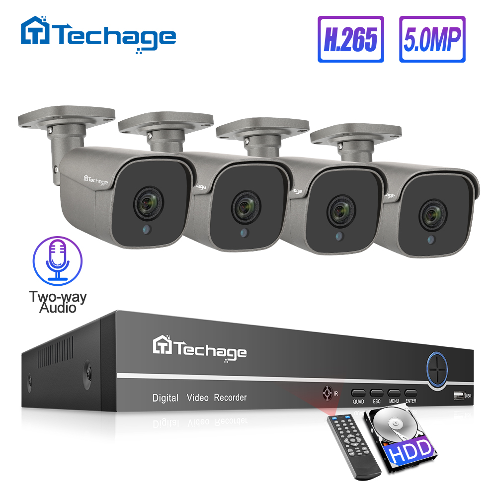 H.265 8CH 5MP HD POE Keselamatan Kamera Sistem NVR Kit Dua hala Audio IP AI Camera IR luar kalis air CCTV Video Surveillance Set