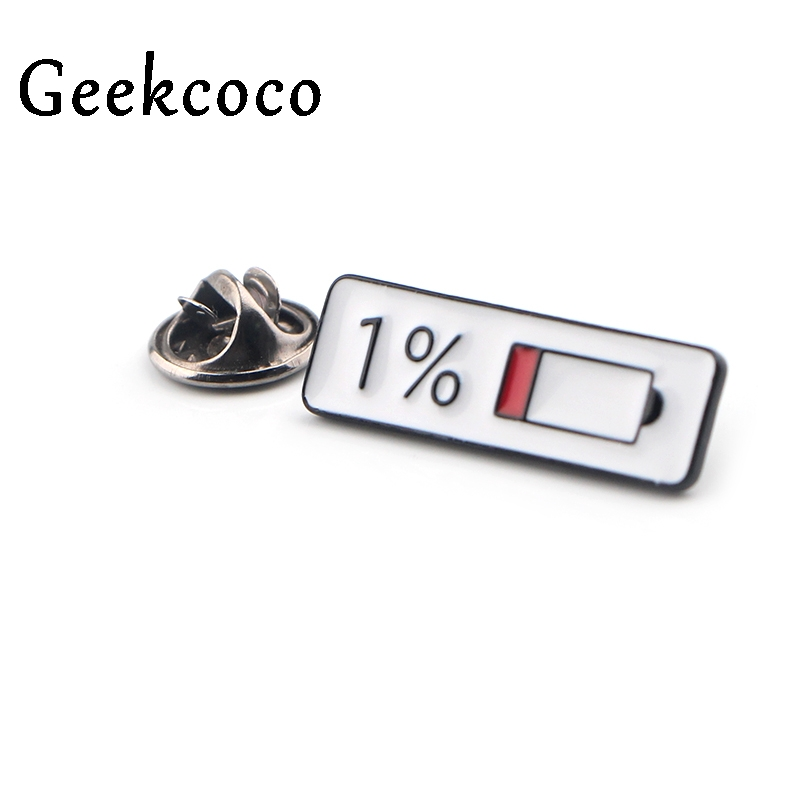 Mobile phone Battery percentage Enamel Pin Brooch Collection Metal Lapel Pins Badges Brooches for Women Men Jewelry Gifts J0444 in Brooches from Jewelry Accessories