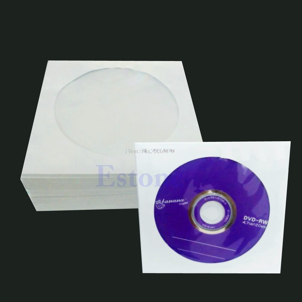 50/100pcs 5inch CD DVD Disc Paper Sleeves Envelopes Storage Clear Window Case Flap D14 ymjywl cd case blu ray disc box high quality cd dvd storage package 160 discs capacity for car travel cd storage equipment