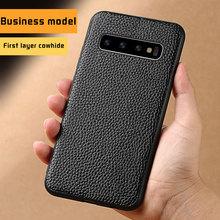 LANGSIDI Genuine Leather Anti-knock case For S10 Men Business for Samsung Galaxy s10 plus flip phone capa e 2019