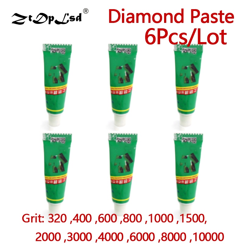 ZtDpLsd 6Pcs W0.5~W40 Diamond Abrasive Paste Needle Tube Grinding Polishing Lapping Compound Metal Jade Amber Buffing Tools