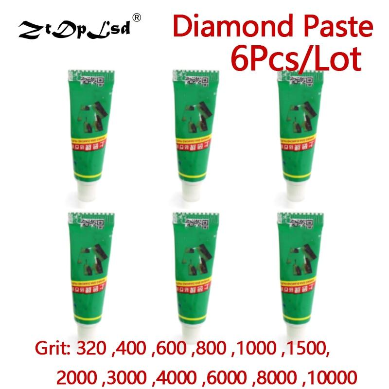 ZtDpLsd 6Pcs W0.5~W40 Diamond Abrasive Paste Needle Tube Grinding Polishing Lapping Compound Metal Jade Amber Buffing Tools