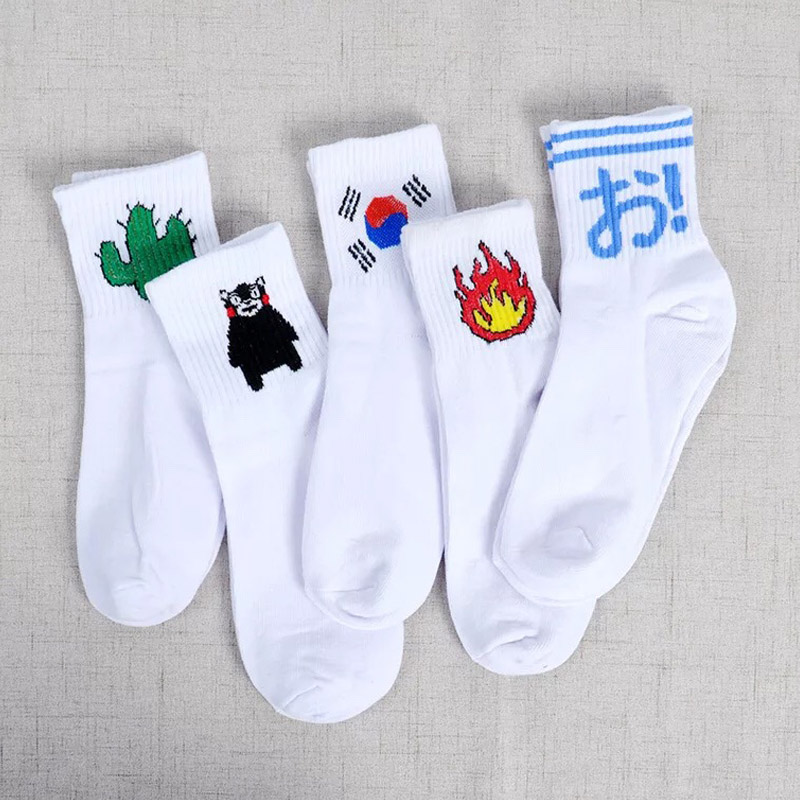 Chinese Daily Cotton Socks Kitten Harajuku Socks Students Ulzzang Korea Cactus Women Gun Japanese Men Socks Flame Alien