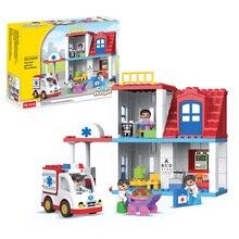 120pcs Hospital Building Brick Big Size Blocks brick nosocomium Model infirmary rescue blocks Compatible With Legoed Duplo Block цена