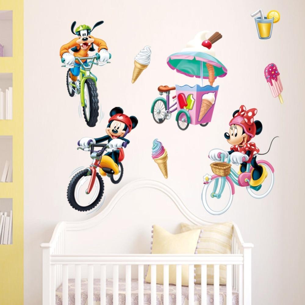 New Mickey Mouse Minnie Mouse Cartoon wall sticker children room nursery sofa wall decoration diy mural vinyl home wallpaper