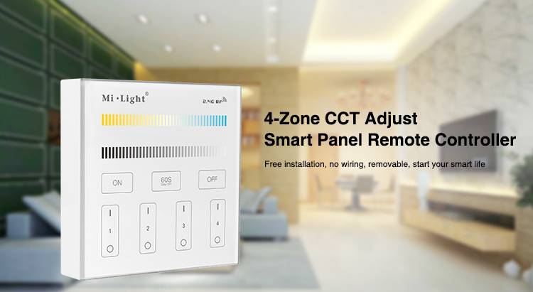 Milight B2 4-Zone CCT Adjust Panel <font><b>Remote</b></font> Controller color temperature brightness <font><b>dimmer</b></font> for <font><b>led</b></font> <font><b>strip</b></font> light tape lamp bulb image