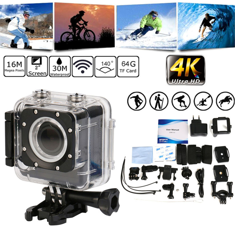 snowshine2#4501 Bike Bicycle Computer Camera Ultra HD 4K Wifi 16MP 1080P Waterproof Sports Action Cam Camera DV DVR Camcorder original eken action camera eken h9r h9 ultra hd 4k wifi remote control sports video camcorder dvr dv go waterproof pro camera