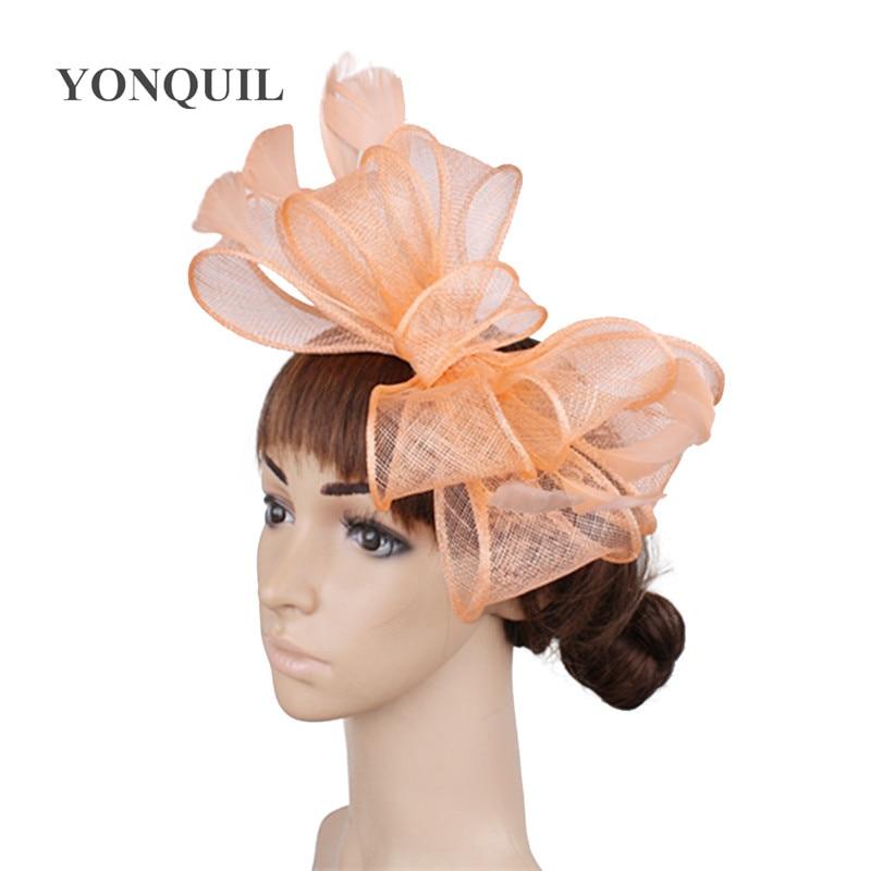 Винтажный белый головной убор Sinamay шляпа с причудливыми перьями Свадебные шапки Клубная кепка очень красивая 21 цвет можно выбрать SYF280 - Цвет: Шампанское