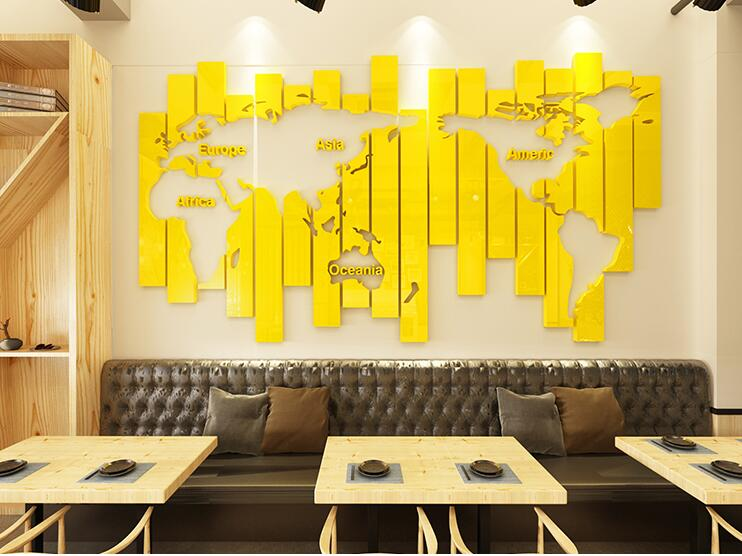 Vente chaude 3D acrylique carte du monde sticker mural pour canapé fond stickers muraux décoration de la maison décors de bureau
