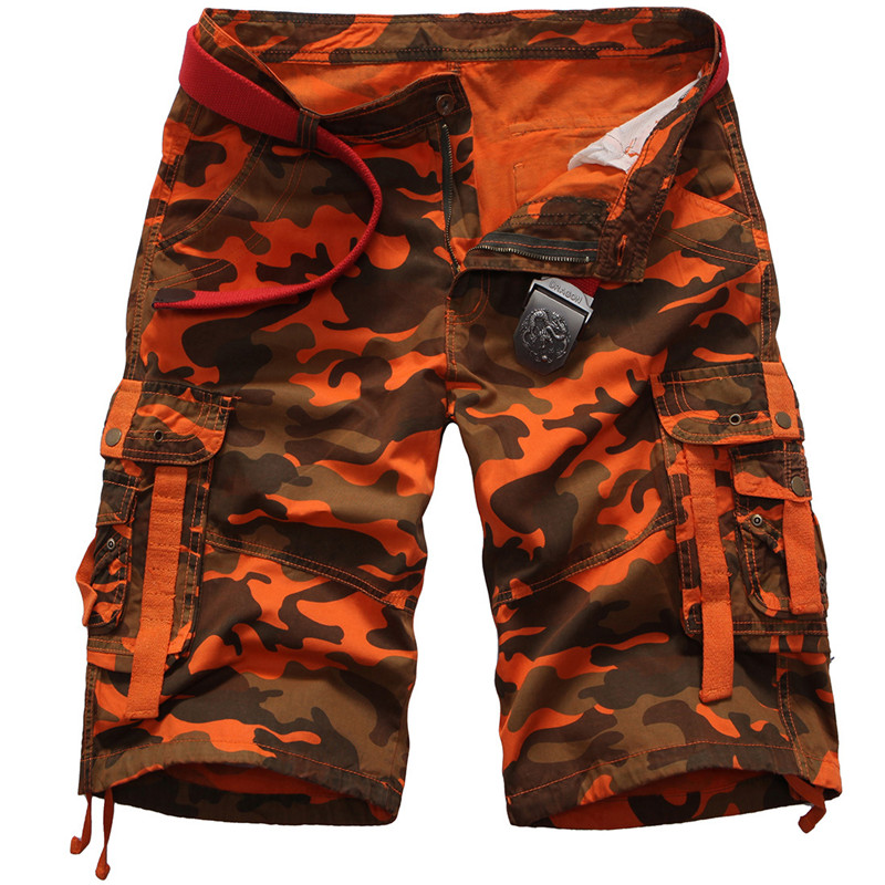 Mens casual camouflage loose cargo shorts men large size multi-pocket military short pants overalls work short pants