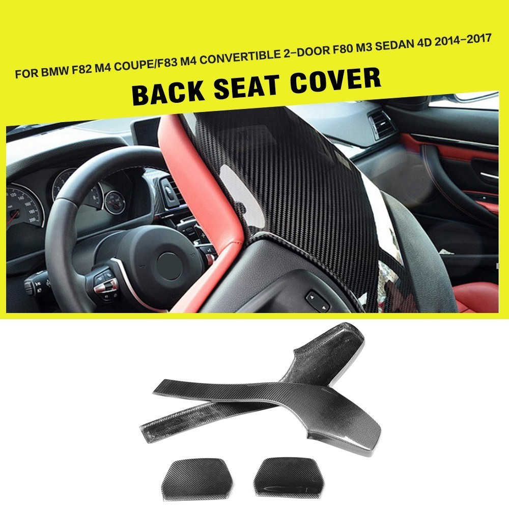 Fibra de carbono Interior Do Carro Back Seat Covers Trims para BMW F80 M3 Sedan F82 F83 M4 Coupe Convertible 2014 2015 2016 2017