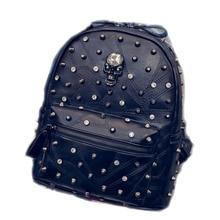 Unique Design Crystal Skull Women Daypacks Fashion Rivet Black PU Leather Shoulder bag Casual Female Shopping Bag School Bags