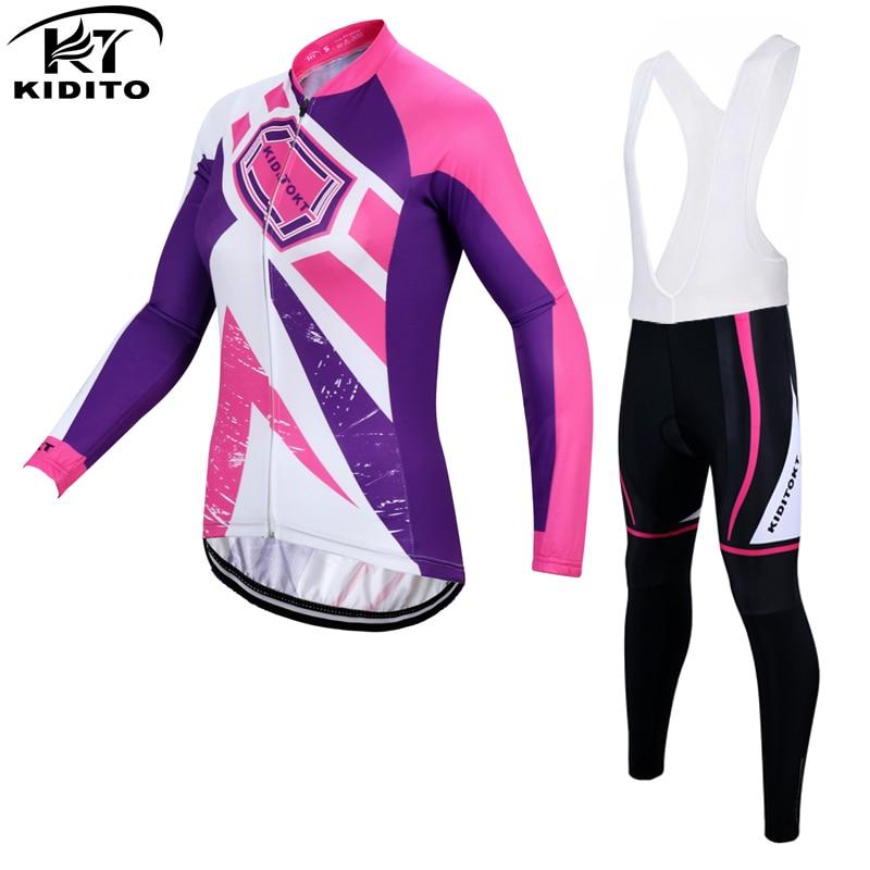 ФОТО KIDITOKT Brand Velvet Winter Women Cycling Jerseys/Super Warm Mountian Bicycle Sportswear Thermal Fleece Bike Cycling Clothing