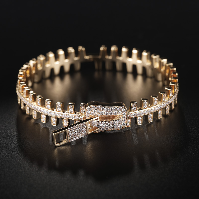 MECHOSEN 3pc Luxury Gold Color Chain Ring Bangle Shiny AAA Zircon For Women's Party Wedding Holiday Party Jewelry Set Gift 2019