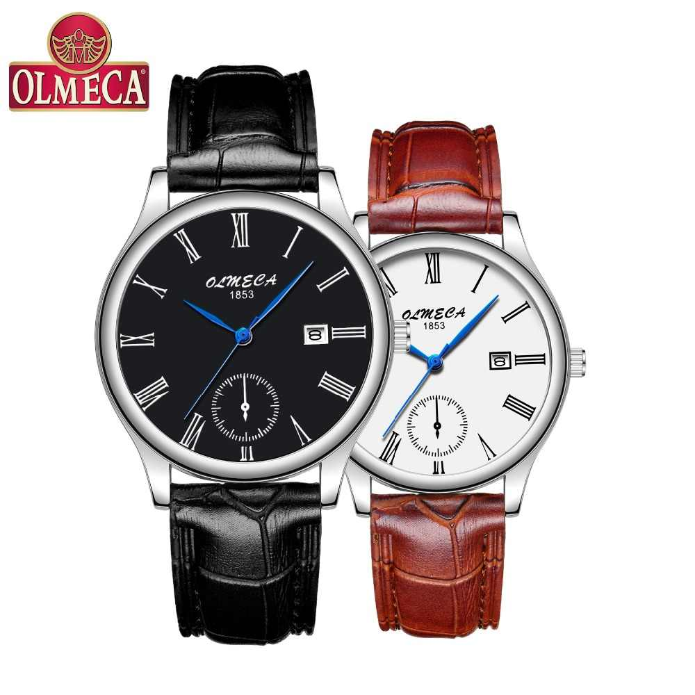 OLMECA Hot Selling Fashion Men&Women Watch Luxury Couple Wristwatches Waterproof Watches Leather Strap Watch Relogio Masculino