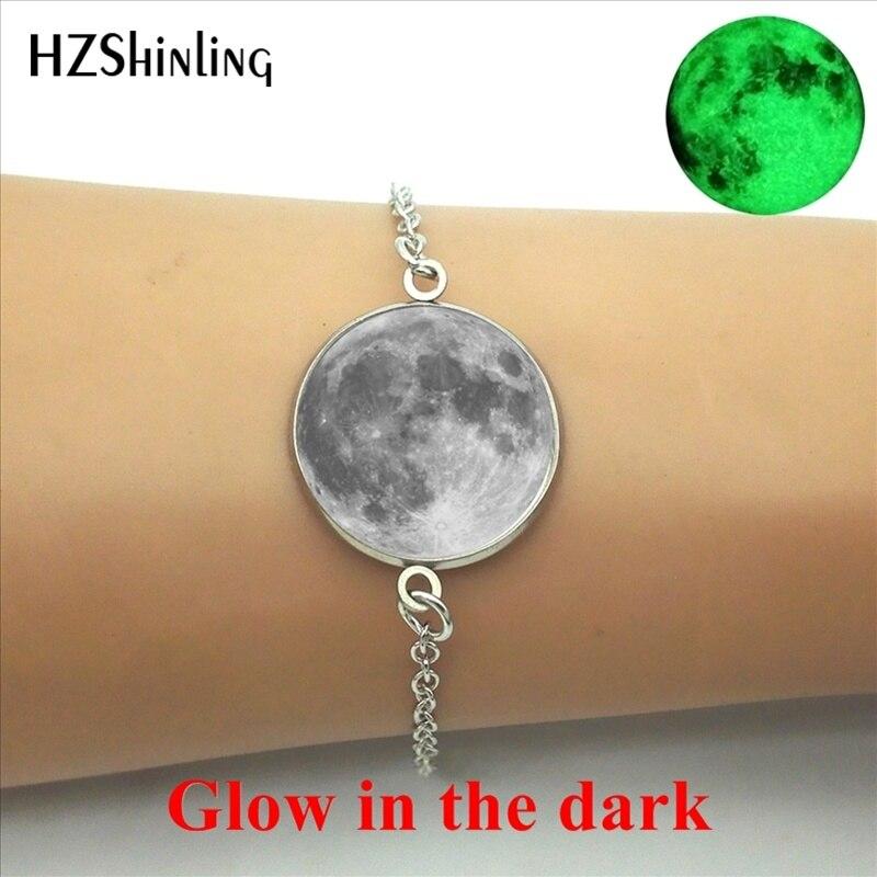 HZShinling New Arrival Glow in the dark Jewelry Full Moon Bracelet Steampunk Lunar Eclipse Art Photo Glass Dome Glowing Bracelet