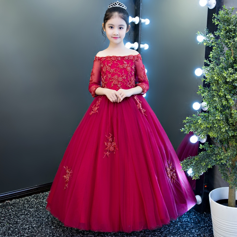 2017 Autumn Winter New Elegant Luxury Kids Girls Ball Gown Birthday Wedding Party Long Mesh Dress Children Model Show Dress