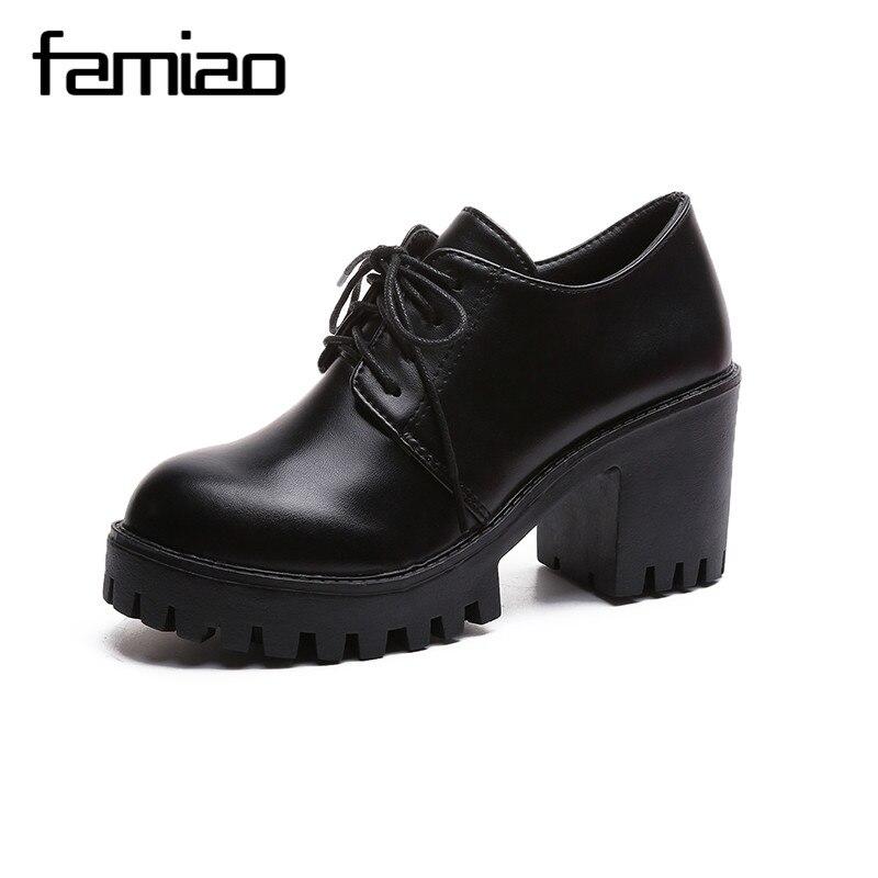 FAMIAO frauen schuhe lace up high heel zapatos mujer büro plattform gladiator damen schuhe chaussure femme schwarze schuhe