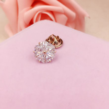 Copper Brooches Luxury Zircon Stones Round Circle Small Brooches Women Scarf Hijab Pins Collar Tips Dress Decoration Jewelry
