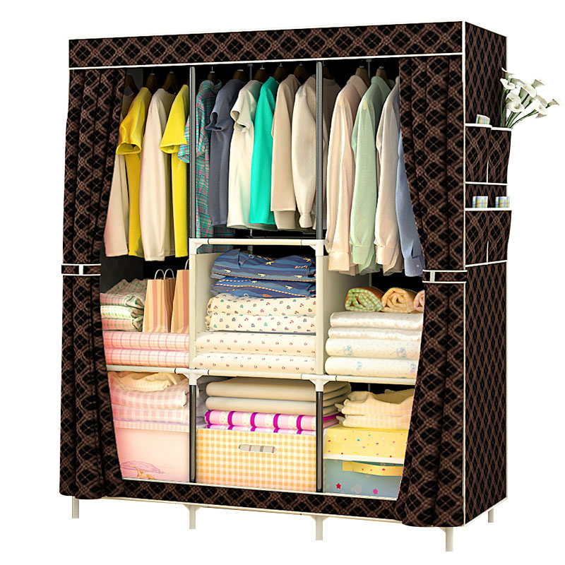 Folding Non-woven Cloth Wardrobe Dustproof Fabric Closet Steel Pipe DIY Assembly Clothes Storage Cabinet Children Room Furniture
