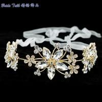 Vintage Flower Bridal Hair Comb Elegant Clear Austrian Crystal Head Tiara Wedding Jewelry Head Band For