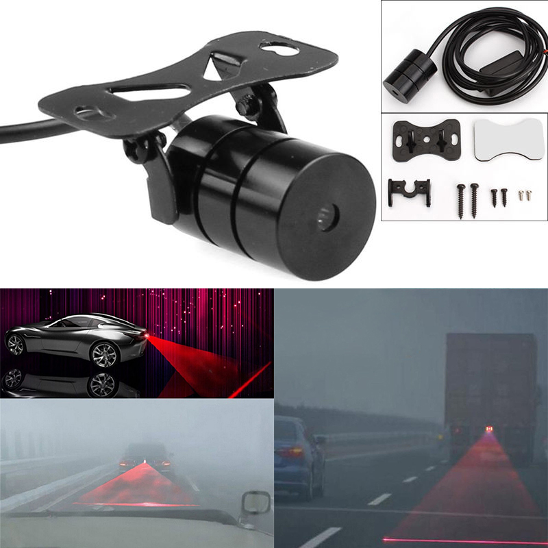 1set Universal Rear-end Car Laser LED Fog Light 12V High Quality LED Rear Anti Collision Signal Warning Lamp for Car Styling