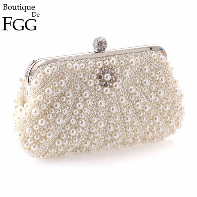 Women White Synthetic Pearl Beaded Frame Evening Clutch Bags Bridal Wedding Dress Mini Party Prom Clutches Handbags Purse In Crossbody Bags From Luggage Bags
