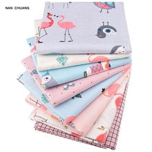 Купить с кэшбэком Nanchuang Flamingo Printed Twill Fabric DIY Handmade Sewing Quilting Fat Quarters Patchwork Material For Baby Children 8Pcs/Lot