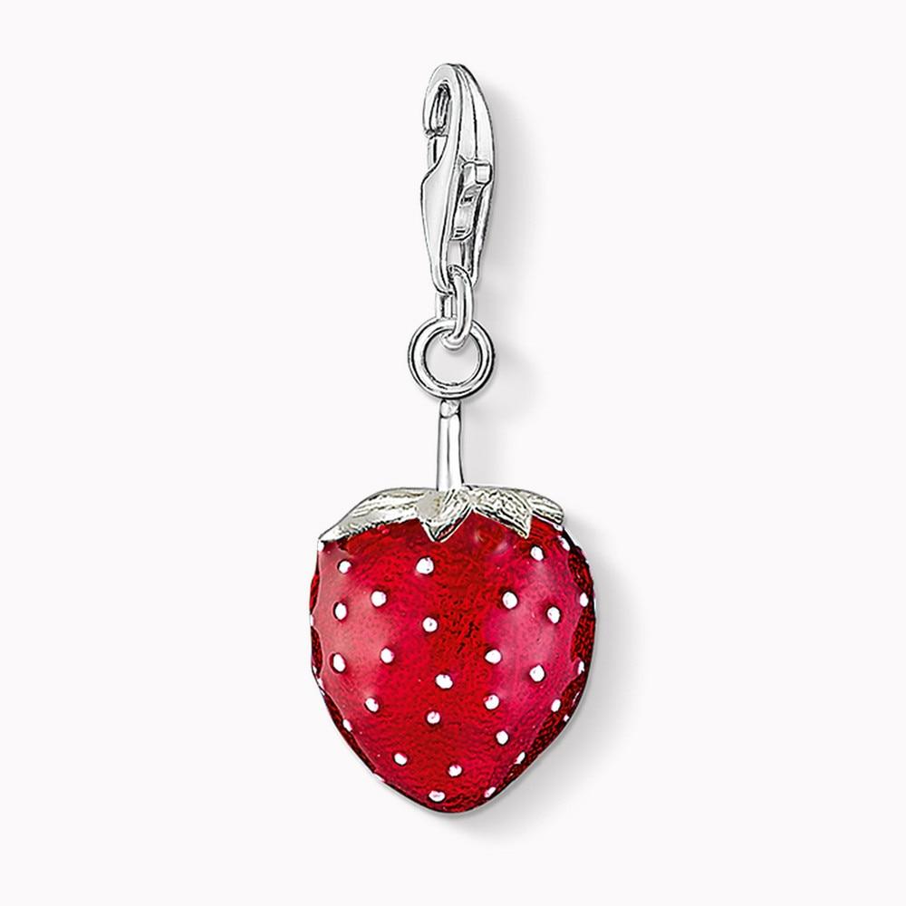 Muffiy Brand Red Strawberry Fruit Charm for Bracelet Trendy Silver Color Chaveiro Women Jewelry Romantic Wanita Cantik Bijoux