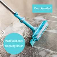 Double sided Long Handle Floor Spin Scrubber Cleaning Brush Bathroom Tile Gap Dust Daddy Cleaning Household Window Cleaner Tools