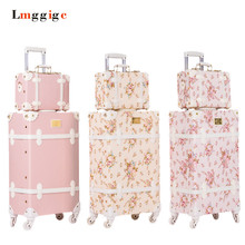 20″22″24″26″inch Vintage Trolley Luggage,PU Leather Suitcase Travel bag,Women universal wheels Carrier ,High quality Carry-Ons,