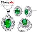 Azul moda Red CZ Diamante Casamento 925 Conjunto de Jóias de Prata para As Mulheres Bridals Colar Brincos Anéis Conjunto Brinco Venda T496