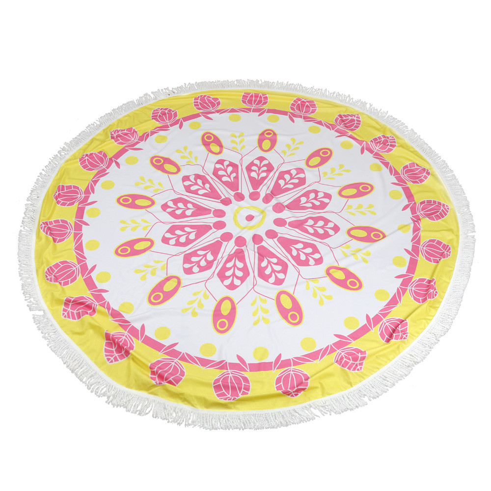 Happy Sales Factory Price Summer Round Hippie Tapestry Beach Throw Roundie Mandala Towel Yoga Bohemian Polyester Mat Aug22